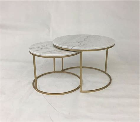 Shop coffee tables at interiors online. Nesting Round Marble Top Coffee Tables With Golden Metal ...