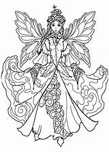 Fairy Coloring Pages Adults Adult sketch template