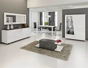 Salle manger complte laqu blanc et ardoise design joshua for Meuble salle À manger avec buffet salle a manger noir et blanc