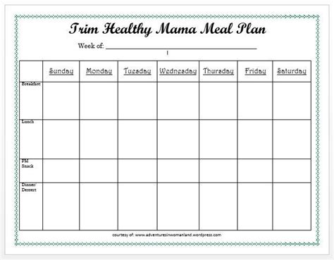 Trim Healthy Mama Weekly Food Log Template by Printable Meal Plan Plus A Giveaway Adventures In Womanland