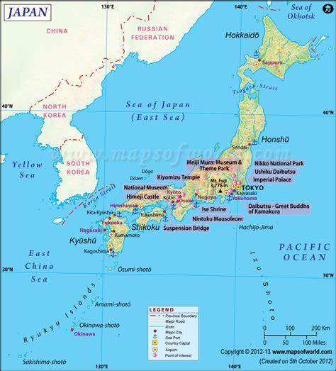japan map shows  province boundary airports major