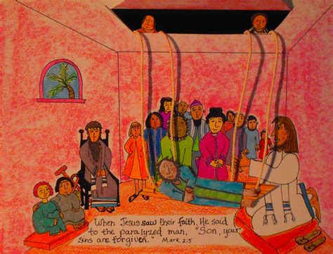 Jesus Heals The Paralyzed Man The Roof Coloring Pages