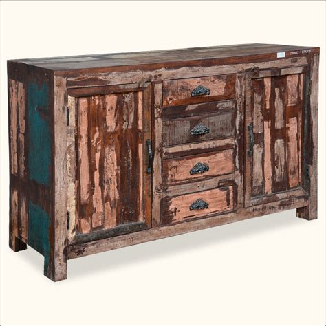 Distressed Sideboard Cabinet Rustic Reclaimed Wood