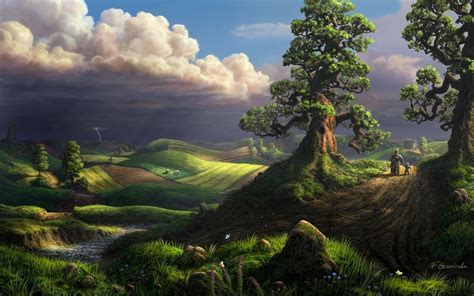 3d Green Nature Wallpaper by Green Clouds Nature Trees Sea