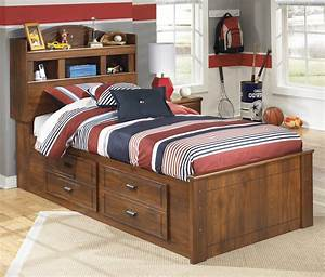 Signature, Design, By, Ashley, Barchan, Twin, Bookcase, Bed, With, Underbed, Storage