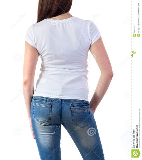 Use it to present your apparel design in a photorealistic way. Girl in t-shirt mock-up stock image. Image of human ...