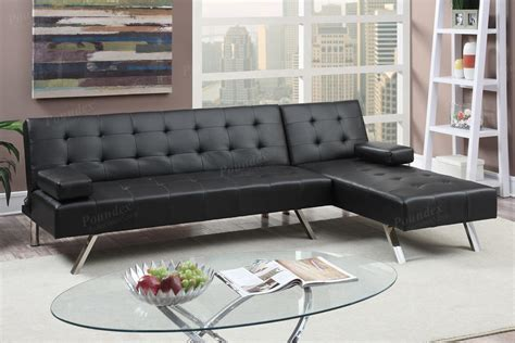 black leather sectional with ottoman poundex nit f7886 black leather sectional sofa bed steal