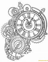 Steampunk Clock Pages Wall Coloring sketch template
