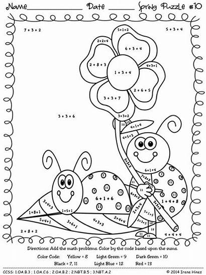 Math Sum Spring Addition Puzzles Worksheets Maths