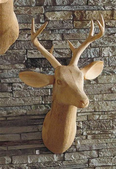 roost carved wood deer head facing left modish store