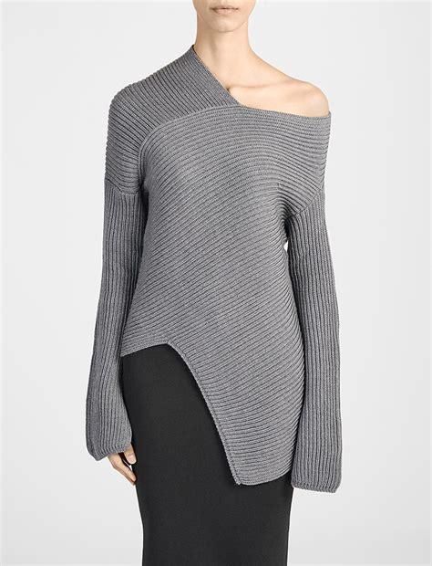 lyst joseph wool cardigan stitch asymmetric sweater in gray