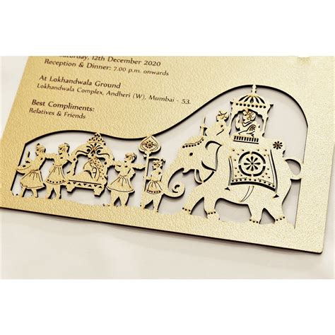 Laser Cut Wedding Card Baraat Design Wedding Invitation