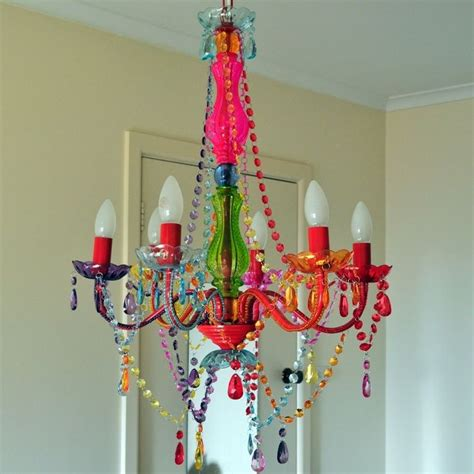 large colored chandelier light 6 arm boho
