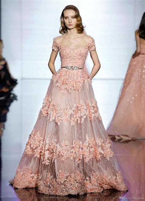 zuhair murad lace evening dresses long  sheer