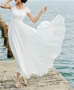 white lace maxi dress maxi chiffon dress short sleeved With white maxi dress for beach wedding