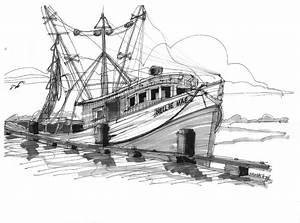 Nellie Mae Fishing Boat Drawing by Richard Wambach