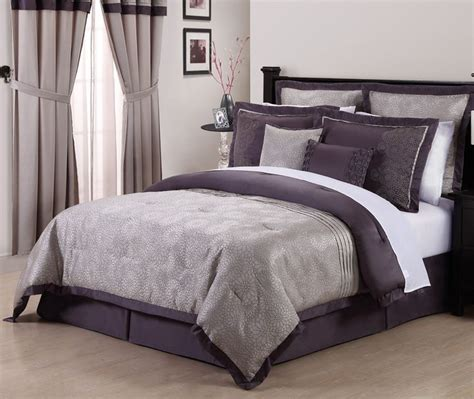 purple and gray bedding 8pcs debois purple embroidered comforter set