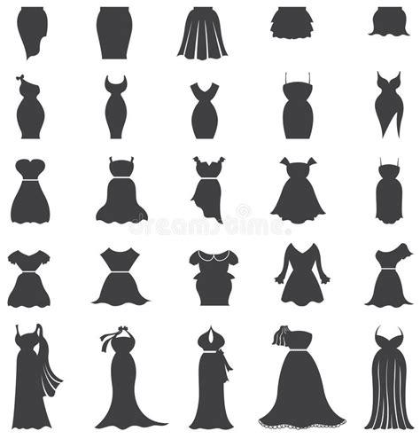 silhouette woman fashion clothes  dress icon set