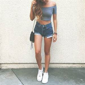 off the shoulder crop top and high rise denim shorts ...
