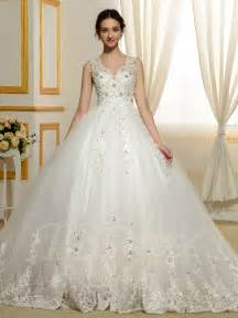 wedding gown dresses designer v neck beading appliques lace gown wedding dress tbdress