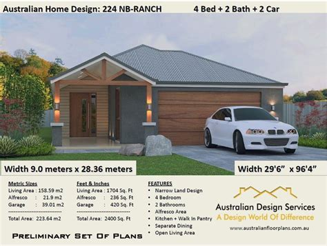 bedroom ranch style floor plans house designs australia  bed  bath  car plan