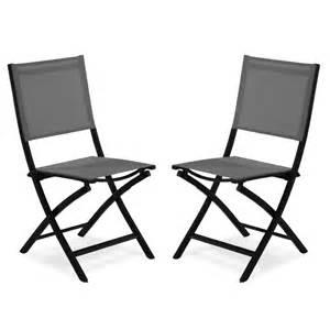 lot de deux chaises pliantes anthracite et gris galet