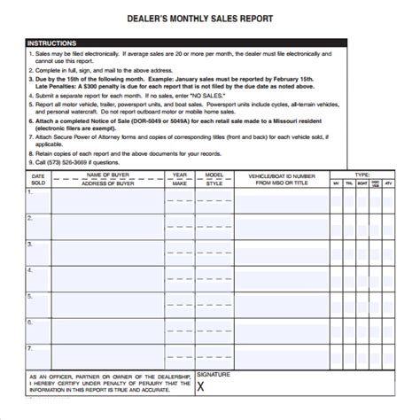 monthly based dealer sales report template