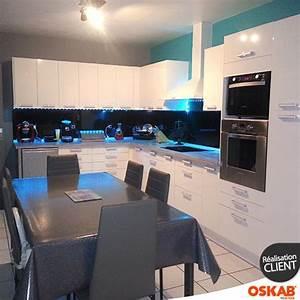 cuisine blanche moderne facade stecia blanc brillant With cuisine blanche et noire