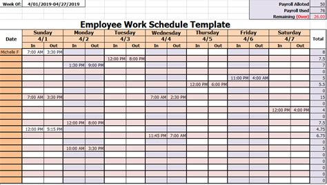 employee work schedule templates  ms excel ms
