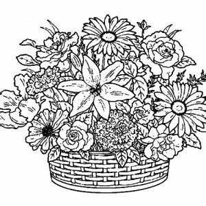 How to Draw Basket of Flowers Coloring Pages: How to Draw ...