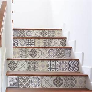 Escalier Carreaux De Ciment : stickers contremarche carreaux de ciment champ tre x 2 ~ Dailycaller-alerts.com Idées de Décoration