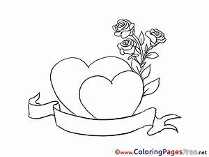 Roses, Hearts, Children, Valentine, U0026, 39, S, Day, Colouring, Page