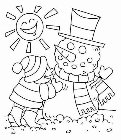 Coloring Winter Sunny Season Drawing Snowman Easy