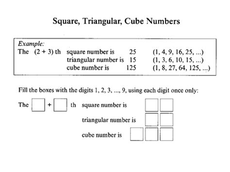 starter square triangular and cube numbers by