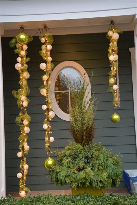 out door ribbon spursl trees lighted bars and sinamay ribbon steel pole wrapped in