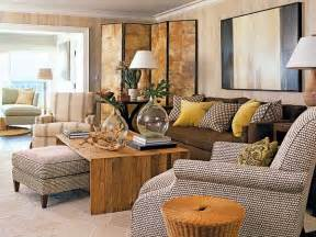 brown livingroom brown and yellow living room transitional living room coastal living
