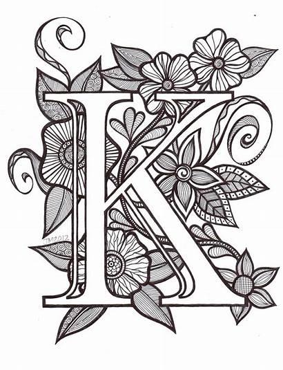 Letter Tattoo Coloring Letters Alphabet Floral Designs