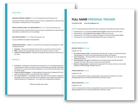 Personal Trainer Resume Templates by Create The Personal Trainer Resume Top Tips