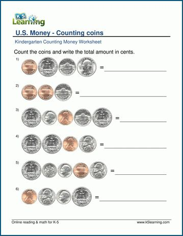 counting money worksheets for preschool and kindergarten k5 learning