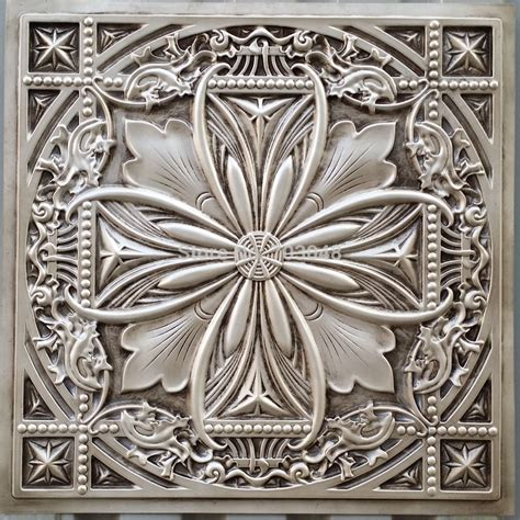 pl10 faux tin plastic ceiling tiles antique white color 3d