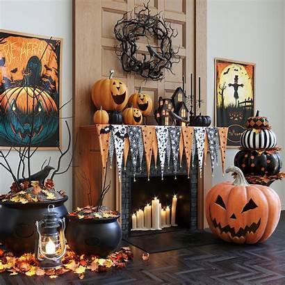 Halloween Models Decorations Mantel Decorating Interior Fireplace