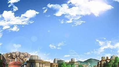 Naruto Konoha Anime Village Clouds Rooftops Sky