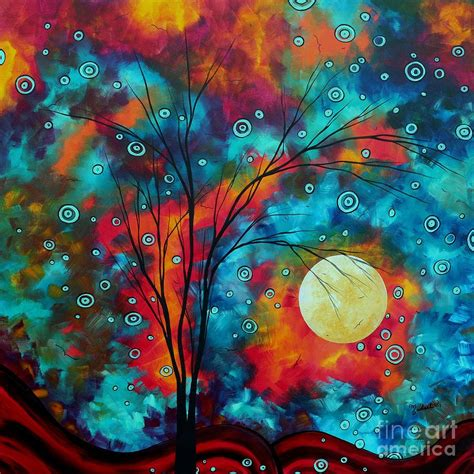 huge colorful abstract landscape art circles tree original
