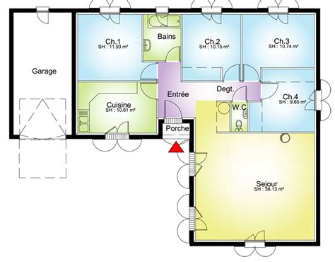 plan maison en l 4 chambres maison contemporaine plans maisons