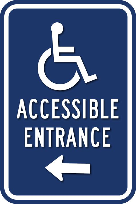 wheelchair accessible entrance sign  direction