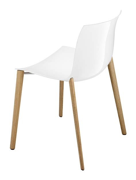 chaises fauteuils chaise empilable catifa 53 coque unie pieds bois blanc