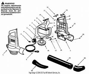 Poulan Rb90 Cordless Blower Parts Diagram For Blower Assembly