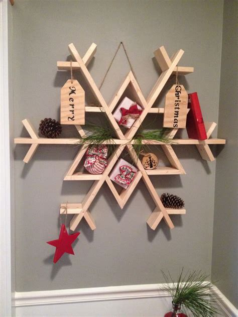 snow  diy wooden snowflake shelf christmas wood