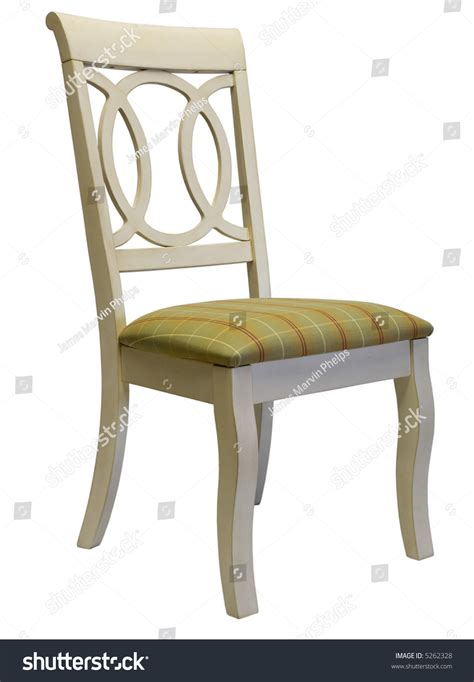white country style dining room chair with plaid