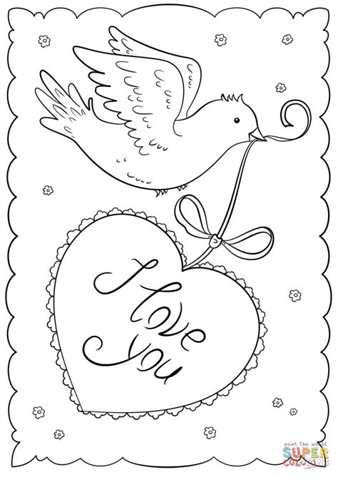 """Valentines day coloring pages free printable coloring pages. """"I Love You"""" Card coloring page 